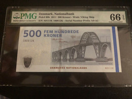 Denmark 500 Kroner 2011 P68b A0 Prefix Graded 66 EPQ Gem Uncirculated By PMG - Denmark