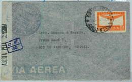 94134 - ARGENTINA - POSTAL HISTORY - Single Stamp On CENSORED COVER To BRAZIL  1944 - Briefe U. Dokumente