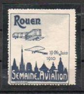 Aviation: Vignette Meeting De Rouen Juin 1940 -bleu-noir Et Gris - Vliegtuigen