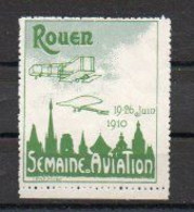 Aviation: Vignette Meeting De Rouen Juin 1910 - Vert Et Gris-vert - Vliegtuigen