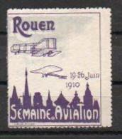 Aviation: Vignette Meeting De Rouen 1910 - Violet Et Gris (gris Déplacé) - Vliegtuigen