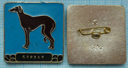 USSR / Badge / Soviet Union / RUSSIA Fauna. Dog. Greyhound . - Animales