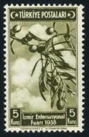 Turkey 1938 - Olive Branch (Olea Europaea) | Fruits | Olives | Plants | Izmir Int. Fair | Star And Crescent | Mi. 1023 - Fruits