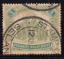 $1 Used 1904 / 1907 Federated Malay States, SG48, Wmk Multi Crown, Elephant, Animal, Malaya / Malaysia - Federated Malay States