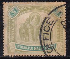$1 Used 1904 / 1907 Federated Malay States, SG48a, Wmk Multi Crown, Elephant, Animal, Malaya / Malaysia - Federated Malay States