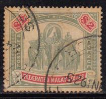 $2 Used 1904 / 1907 Federated Malay States, SG49, Wmk Multi Crown, Elephant, Animal, Malaya / Malaysia - Federated Malay States