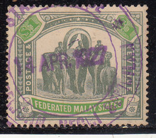 $1 Used 1922 - 1934, Federated Malay States,  Wmk Multi Script, Elephant, Animal, Malaya / Malaysia - Federated Malay States
