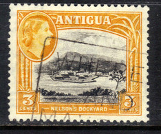 Antigua 1953 - 62 QE2 3ct Black & Orange Used SG 123 ( K1210 ) - 1858-1960 Kronenkolonie