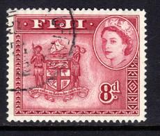 Fiji 1954 - 59 QE2 8d Carmine Lake Used SG 288a ( F455 ) - Fidschi-Inseln (...-1970)