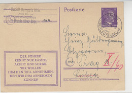 Ganzsache Aus BRUCH über OBERLEUTENSDORF 3.7.44 Nach Prag - Storia Postale