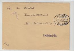 Gebühr Bezahlt Brief Von Bahnhof Himmelreich Aus FREIBURG 21.5.46 - Zone Française