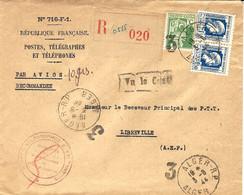 1944- Enveloppe Des PTT-n°716-F-1RECC.par Avion Affr. 3,15 F  Obliy. 3 / ALGER-RP Pour LIBREVILLE / CHARGEMENTS - Briefe U. Dokumente