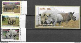 KENYA, 2019, MNH, FAUNA, RHINOS, WHITE RHINOCEROS, 3v+S/SHEET - Rinocerontes