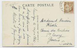 PAIX 60C BRUN SEUL CARTE BONNEVILLE 1938 HTE SAVOIE POUR GENEVE TARIF FRONTALIER PEU COMMUN - 1932-39 Paz
