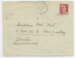 GANDON 6FR ORANGE N°721 SEUL LETTRE COLLONGES AIN 9.7.1946 POUR GENEVE TARIF FRONTALIER RARE - 1945-54 Marianne (Gandon)