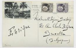 ESPANA 5C+20C TARJETA POSTAL + VIGNETTE BARCELONA TO BELGIQUE - 1931-50 Briefe U. Dokumente