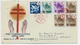 ESPANA  SERIE 5C +10C+25C+50CX3 LETTRE COVER PRO TUBERCULOSOS MADRID 22 DIC 1950 TO BELGIQUE - 1931-50 Briefe U. Dokumente