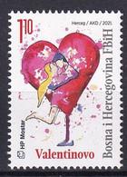 BOSNIA AND HERZEGOVINA  2021,POST MOSTAR,VALENTINES DAY,HEART,MNH - Bosnie-Herzegovine