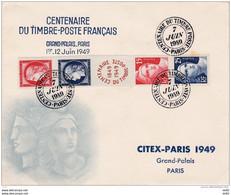 FRANCE CENTENEAIRE DU TIMBRE POSTE ENVELOPPE DU CITEX AVEC N° 830 / 833 - Commemorative Postmarks