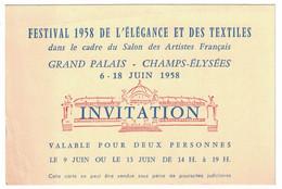 1958 FESTIVALDE L'ELEGANCE ET DES TEXTILLES GRAND PALAIS CHAMPS-ELYSEES INVITATION / REMOND PARIS - Pubblicitari