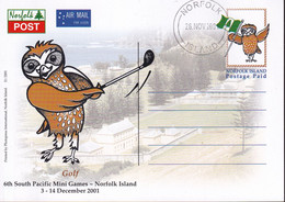 Norfolk Island 2001 Postcard South Pacific Mini Games Golf FDC - Norfolk Island