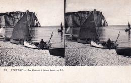 76 - Seine Maritime - ETRETAT - Les Falaises A Marée Basses -  Carte Stereoscopique - Etretat