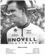 CYCLISME: CYCLISTE : FORMAT 17X21:GERRIT DE VRIES - Ciclismo