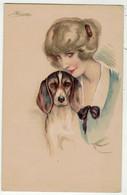 Illustrateurs Signé// S.Meunier  // Chiens // Femme Avec Le Chien - Meunier, S.