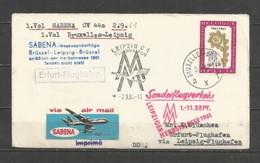 BRUXELLES-ERFURT-LEIPZIG - 2-9-1961 - Timbre Belgique (Malines) - Airplanes