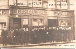 SAINT-ETIENNE (42) HÔTEL Des Poilus , Visite Officielle De M Le Préfet Et M Le Maire Octobre 1916 Au RESTAURANT FRAPPA - Saint Etienne