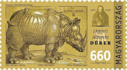 Hungary - 2021 - 550th Birth Anniversary Of Albrecht Dürer - Woodcut Of A Rhinoceros - Mint Stamp - Unused Stamps