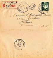 LETTRE EN FRANCHISE RECOMMANDÉE A.R. PETAIN HOURRIEZ SEUL SUR LETTRE LA ROCHELLE R.A.U. 1944 - Posttarieven