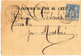 SAGE N° 90  CHEMIN DE FER DE L'ÉTAT AVIS D'ARRIVÉE MARCHANDISES EN GARE 18 MAI 1884 MONTLIEU CHTE INFERIEURE - Posttarieven
