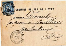 SAGE N° 90  CHEMIN DE FER DE L'ÉTAT AVIS D'ARRIVÉE MARCHANDISES EN GARE 21/2/1885 MONTENDRE CHTE INFERIEURE - Posttarieven