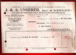 Facture Ungerer Frères Succ. De Schwilgué Strasbourg 25-07-1934 - Horloge Edifice Horlogerie Réparation Précision Auto - 1900 – 1949