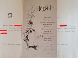 Ancien Menu De Mariage Illustré, Signé Kauffmann, Hotel Lenoir A St Laurent Les Macon 1890 - Menus
