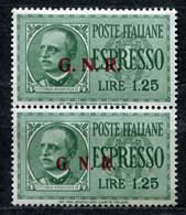 Z2453 ITALIA RSI 1944 Espresso L. 1,25 Sopr. GNR, Sassone 19/II-III, MNH**, Tiratura Di Brescia, Coppia Con  Soprastampa - Mint/hinged