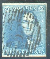 N°2 - Epaulette 20 Centimes Bleue, TB Margée, Obl. P.33 DINANT. TB - 17406 - 1849 Schulterklappen