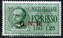 Z2456 ITALIA RSI 1944 Espresso L. 1,25 Sopr. GNR, Sassone 19/II, MNH**, Tiratura Di Brescia, Soprastampa II Tipo, Valore - Mint/hinged