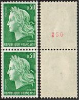 France Marianne De Cheffer N° 1536.Aa +1536.Ab ** La République Le 30c Vert Roulette En Paire, Gomme Tropicale - 1967-70 Marianne De Cheffer