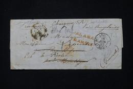 PEROU - Lettre De Callao Pour La France En 1853 Avec Marque Postale De Panama Transit, Par Voie Anglaise - L 90931 - Perú