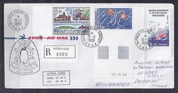 TAAF N° 122/121/PA101 SUR LETTRE REC. DE ALFRED FAURE CROZET/15.2.89 - Lettres & Documents