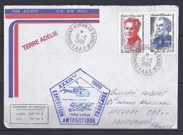 TAAF N° 128/134 SUR LETTRE DE DUMONT D URVILLE/12.2.89 - Lettres & Documents