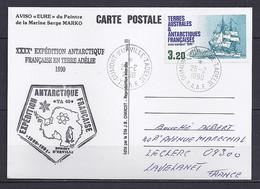 TAAF N° 129 SUR C.P. DE DUMONT D URVILLE/26.2.90 - Lettres & Documents