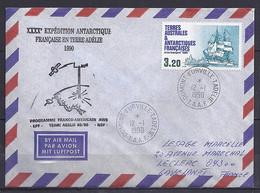 TAAF N° 129 SUR LETTRE DE DUMONT D URVILLE/12.1.90 // 40° EXPEDITION ANTARCTIQUE - Lettres & Documents