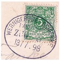 "1 229 Ak Hohne-Signalfichte Bahnpost ""WERNIGERODE-SCHIERKE"" 1898 - Cartas"