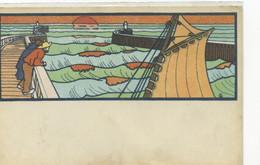 ILLUSTRATEUR - COMBAZ (Art Nouveau) - Bord De Mer, Bateau, Vagues, Digue, Coucher De Soleil - Combaz