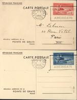 2 Entiers Bateau Victoire Mémorial Américain Pointe De Grave Flamme Inauguration Monument CAD Pointe De Grave 4 IX 1938 - Cartes Postales Types Et TSC (avant 1995)