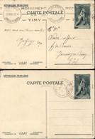 2 Entiers Mémorial Canadien De Vimy 5c Vert Vue 8 Et 10 Storch J1h Et J CAD Vimy 26 7 1936 + Flamme Monument - Cartes Postales Types Et TSC (avant 1995)