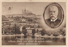 Czech Postcard Presidente Osvoboditeli And Prague City View 1938 - Repubblica Ceca